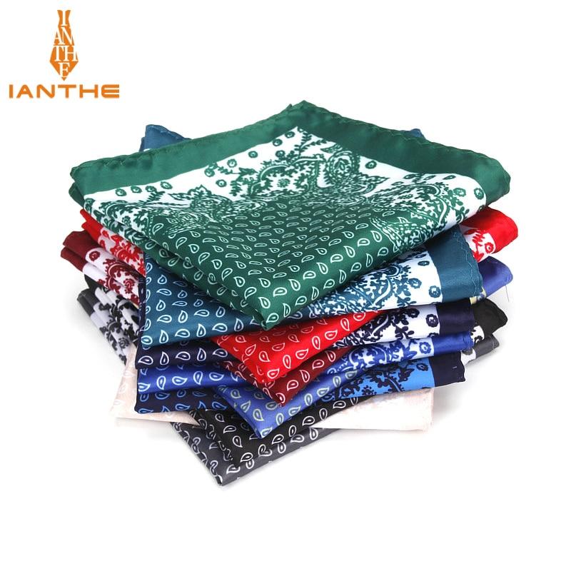 Brand New Men's Handkerchief Vintage Paisley Print Pocket Square Soft Silk Hankies Wedding Party Business Hanky Chest Towel Gift
