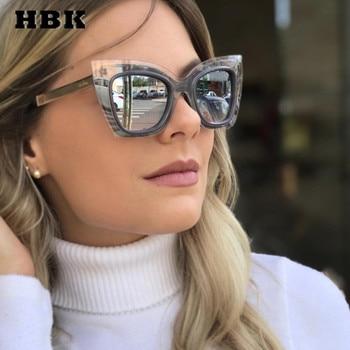 3b6b914fb3 HBK De ojo De gato gafas De Sol italiano marca Vintege Modis Oculos De Sol  Feminino 2019 De lujo De las mujeres De la marca diseñador gafas De Sol  UV400