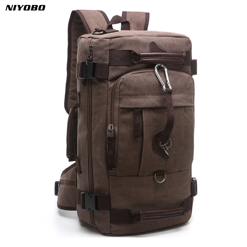 NIYOBO 2018 New Backpack Men Vintage Canvas Backpack bucket shoulder bag Large capacity man travel bag mountaineering Rucksacks цены