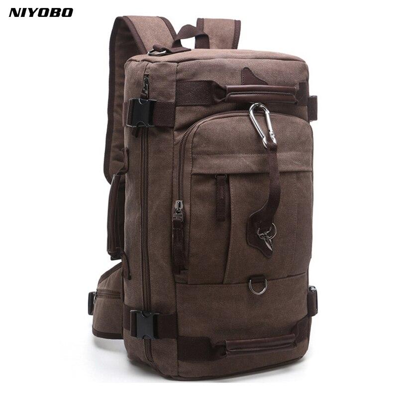 NIYOBO 2018 New Backpack Men Vintage Canvas Backpack bucket shoulder bag Large capacity man travel bag mountaineering Rucksacks
