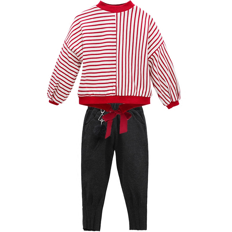Girls Winter Sweater Cashmere Suit With 2017 New Korean Children In Western Style Trousers Thickened Two Piece Stripes charter club new purple cashmere crew neck sweater msrp $129 00