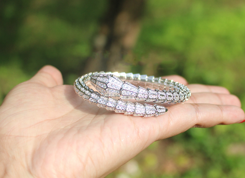 2017 Qi Xuan_Fashion Jewelry_High Carbon Trendy Snake Bangles_S925 Solid Silver Snake Bangles_Manufacturer Directly Sales