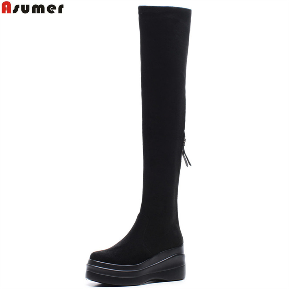 ASUMER black gray fashion autumn winter new shoes round toe zipper platform wedges boots flock women over theknee boots 2018 new superstar flock runway peep toe slip on fashion brand shoes wedges autumn spring lazy zipper mid calf boots for women