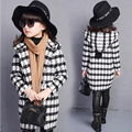 Winter Girls Jackets Plaids Fashion Girl Jacket Princess Autumn Hooded Wool Blends Girls Outerwear Coats for Mother and Daughter