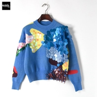 2018 New Fashion Sweater Female Pullovers Winter Sequins Shinny Basic Blue Knitted Sweaters Pullover Runway Designer