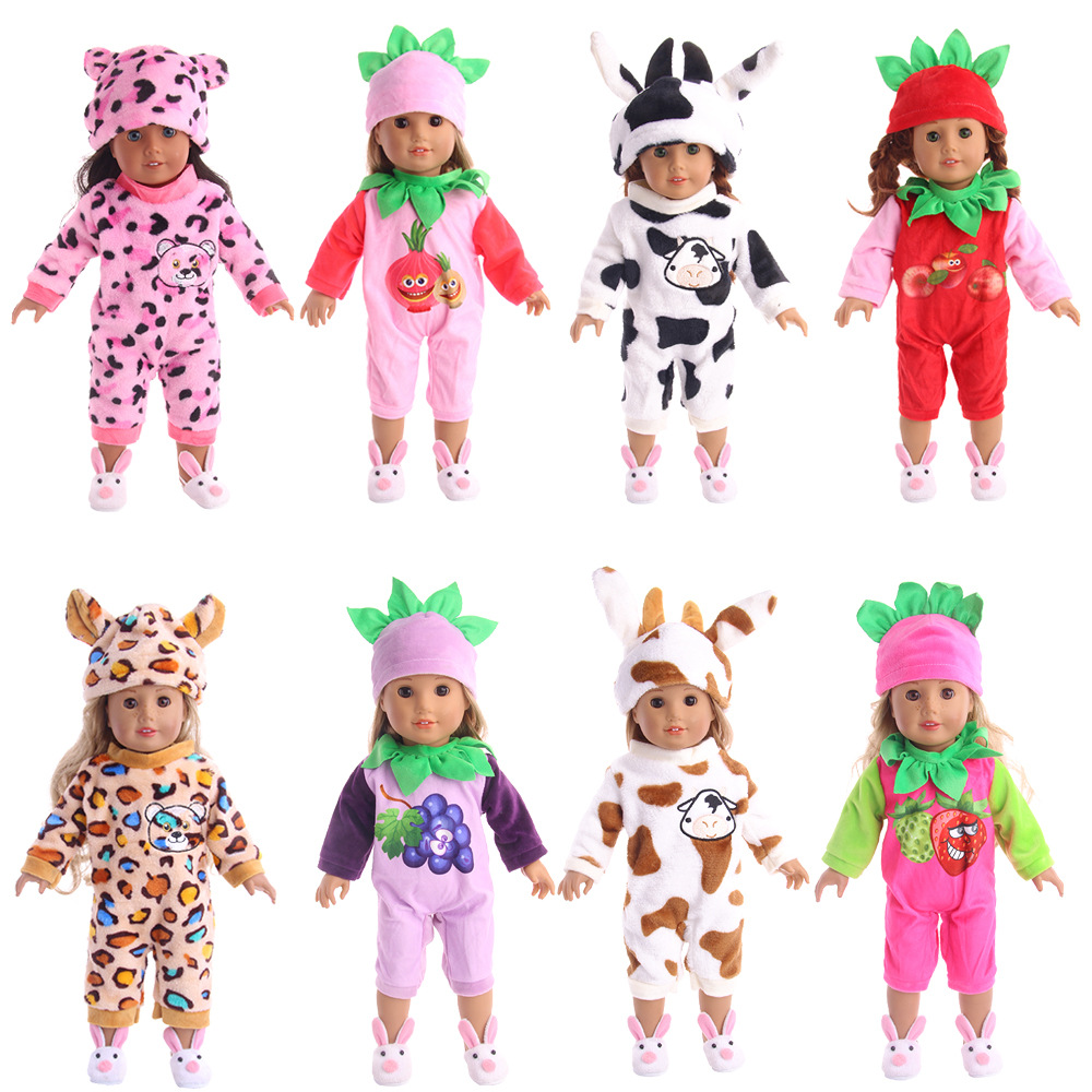 2pcs Girl Doll Clothes Pajamas + Hat Set For 18inch American Our Generation Cartoon Baby Dolls Pajamas Set Dolls Accessories