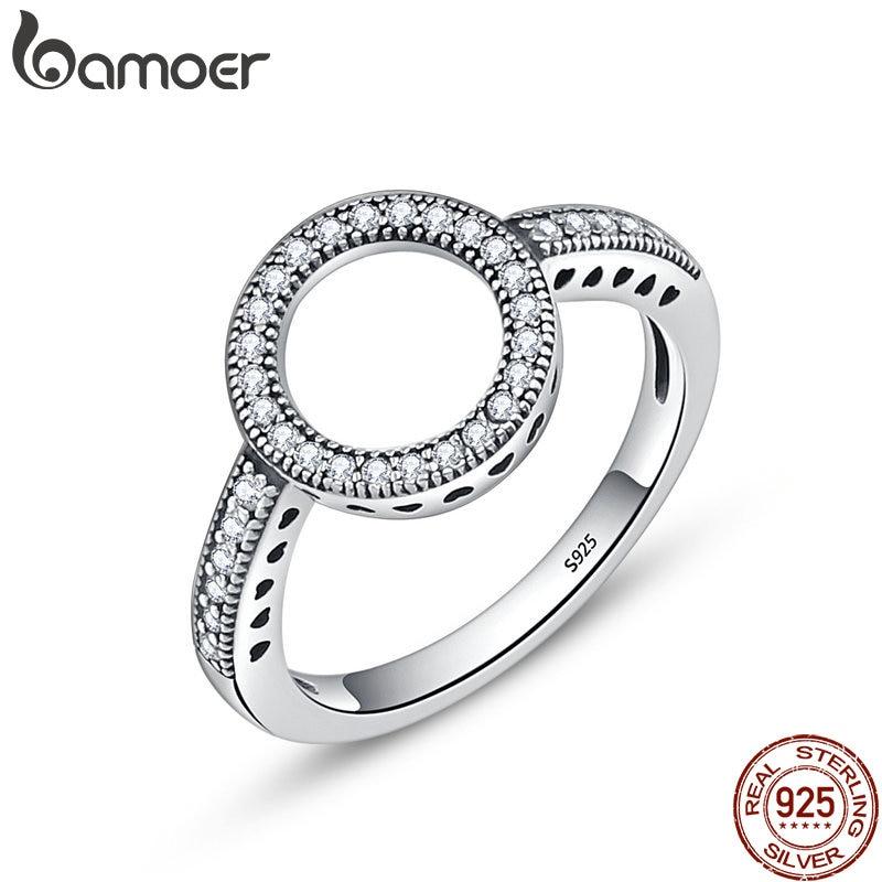 BAMOER 100% Echtem 925 Sterling Silber Für Immer Klar Schwarz CZ Kreis Runde Finger Ringe für Frauen Schmuck Weihnachten Geschenk SCR041
