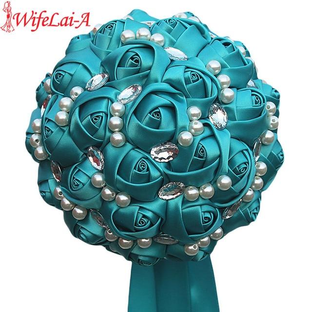 WifeLai A Blue Rose Pearls Rhinestone Brooch Wedding Bouquets buque ...