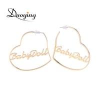 Duoying Heart Hoop Earring Custom Gold Name Personalized Any Words Earrings For Women Boho Jewelry Earrings