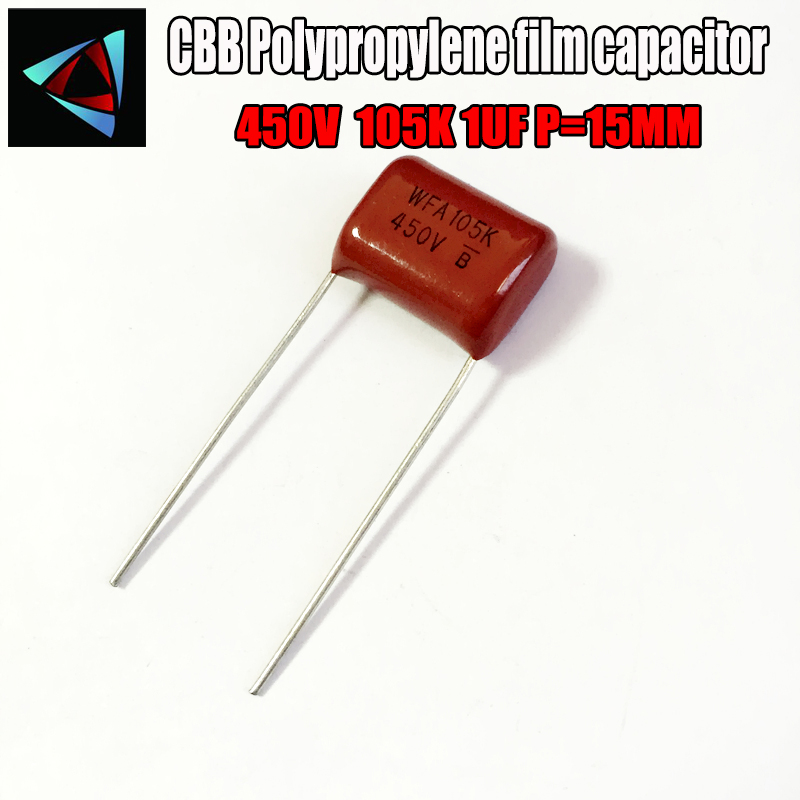4PCS 450V 105K 1UF P15  Polypropylene Film Capacitor Pitch 15mm
