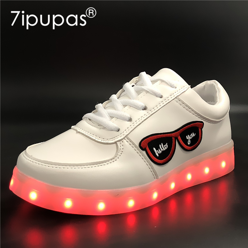 7ipupas EUR 30-44 11 color led slippers Luminous Sneaker Embroidery kid sneaker glowing Boy&Girl Casual Kid Light Up shoe infant