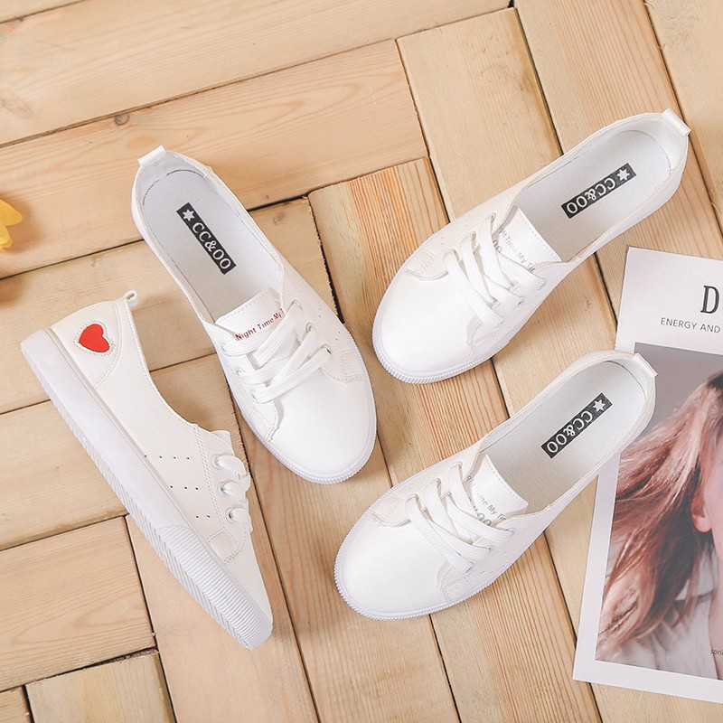 2018 New Arrive Solid Color Female Shoes Embroidery Heart Shaped Shoes Woman PU Leather Casual Lace-Up Women Girls Sneakers