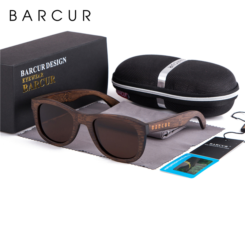 BARCUR Brown Glasses Retro Wood Eyewear Men Bamboo Sunglasses Women Unisex Sun Glasses with case Eyewear Oculos-in Men's Sunglasses from Apparel Accessories