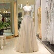Champagne Gray Evening Dresses 2019 Beading Custom Made Crystals Floor Length Long A Line Sleeveless V-neck Elegant Prom Gowns