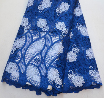 Latest High Quality Nigeria Design Royal blue with white Guipure lace Nigeria Wedding guipure lace Fabrics