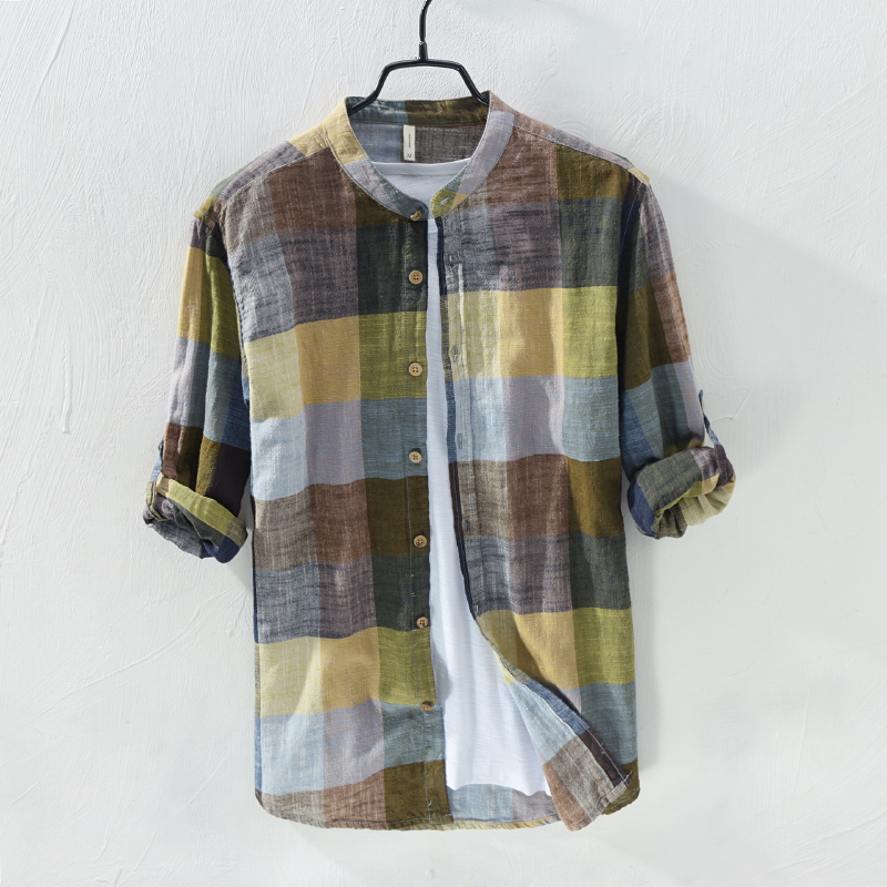 Hot New Arrival Men Fashion Brand Colourful Vintage Plaid Slim Fit Long Sleeve Cotton Linen Shirt Male Casual Thin Shirt Clothes