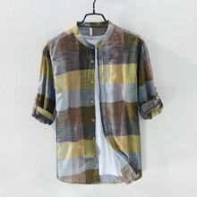 Hot New Arrival Men Fashion Brand Colourful Vintage Plaid Slim Fit Long Sleeve Cotton Linen Shirt Male Casual Thin Shirt Clothes