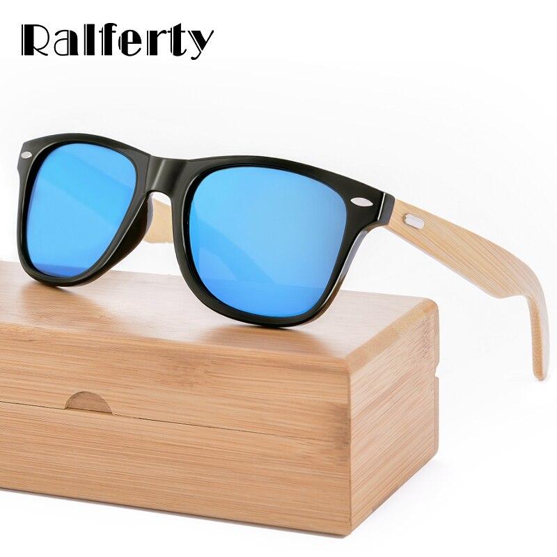 Ralferty Retro Óculos De Sol De Madeira De Bambu Homens Mulheres de Design Da Marca de Óculos De Sol Do Esporte Óculos de Proteção Óculos de Sol Espelho de Ouro Tons luneta óculo