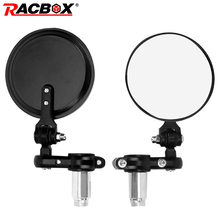 Universal 7/8 Round Bar End Rear Mirrors Moto Motorcycle Motorbike Scooters Rearview Mirror Side View FOR Cafe Racer