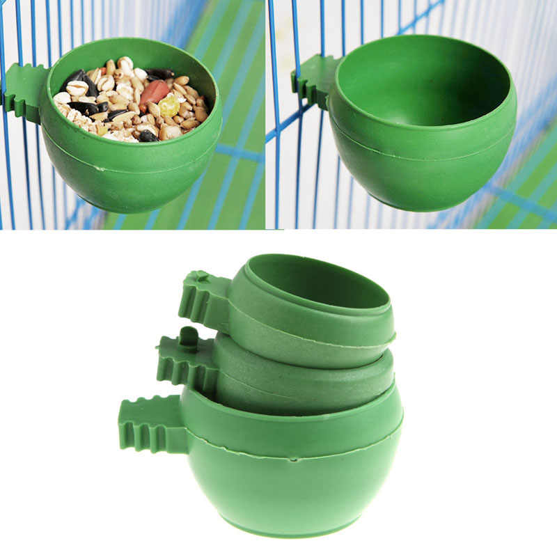 Mini Parrot Food Water Bowl Feeder Plastic Pigeons Birds Cage Sand Cup Feeding