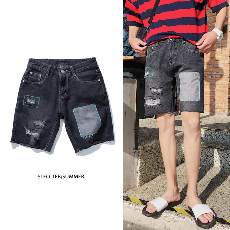 2018 zomer nieuwe mannen mode toevallige losse was patchwork zwarte - Herenkleding