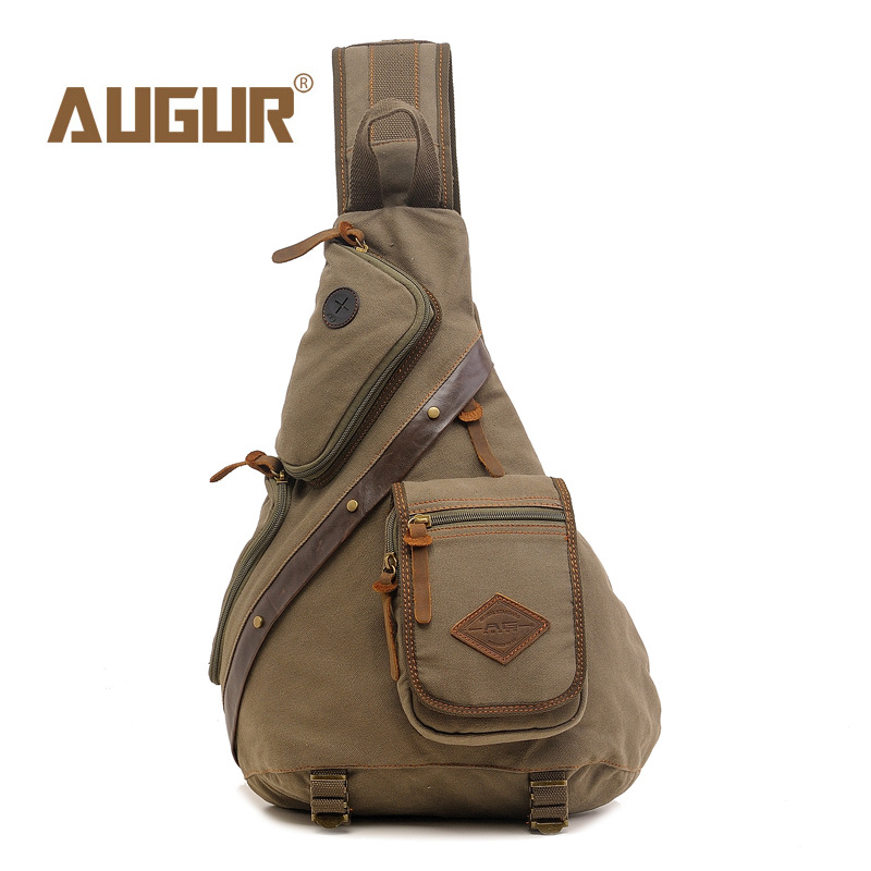 Men's Canvas Chest Pack Messenger Sling Chest Bag Crossbody Bag Vintage Canvas Shoulder Rucksack Travel Camp Army Green augur 2018 men chest bag pack functional canvas messenger bags small chest sling bag for male travel vintage crossbody bag