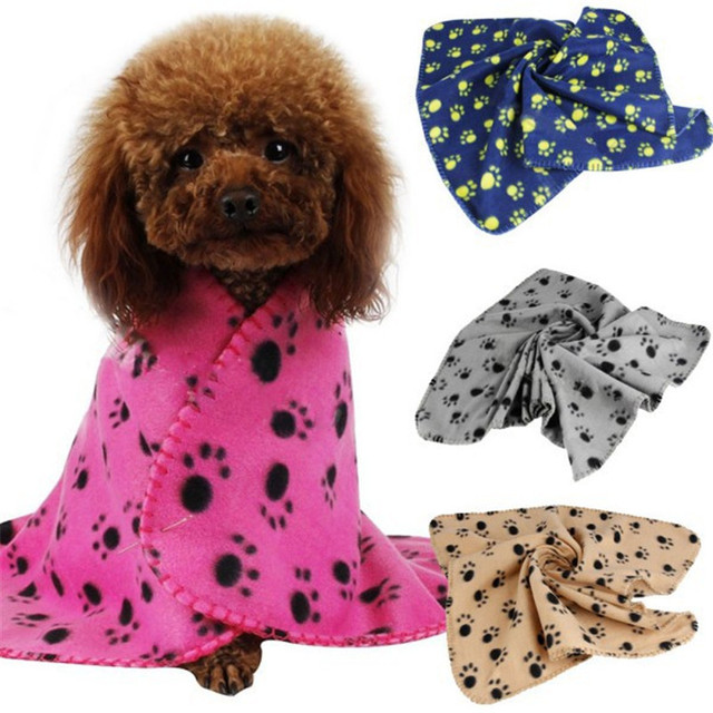 Pet Dog Cat Paw Printed Fleece Cozy Blanket Mat Cute Floral Sleep Warm Print