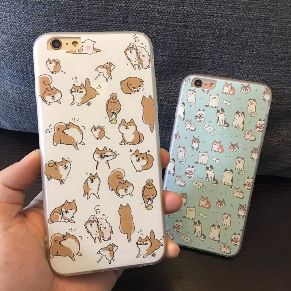 info for 5b48d 41092 US $2.48  Cute Dogs Case Capinha For Coque iPhone X Case TPU Silicone & PC  Matte Cartoon Cats doge Funda For Capa Para iPhone 5 6 7 8 plus-in Fitted  ...