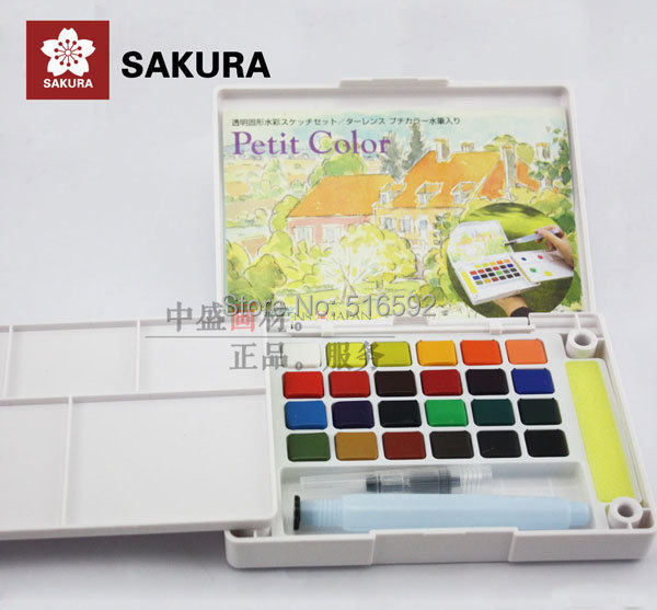 Sakura 24 colours watercolour paint box, with a water brush, solid petit watercolor painting outdoor, portable sketch color sakura 18 24 30 colors watercolour paint box portable solid petit watercolor paint set outdoor art drawing painting supplies