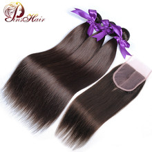 Pinshair Light Brown #4 Straight Hair Bundles with Closure Peruvian Weaves Human Hair 3 Bundles with Closure Non-Remy 10-26 Inch(China)