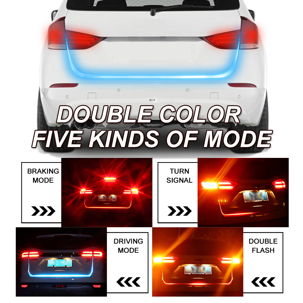 OKEEN car styling Tailgate signal light strip Red&Blue led trunk light strip kit Turn Signal <font><b>Tail</b></font> led moving flash led warning