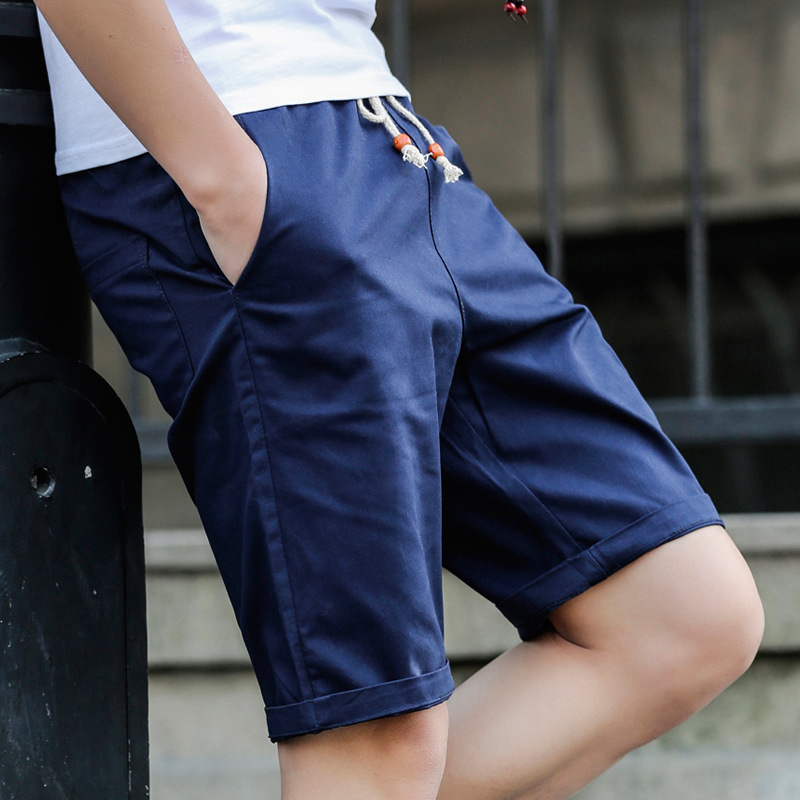 2020 Brand New Men's Casual Shorts Cotton Short Pants For Men Pure Color Drawstring Knee Length Beach Short Slacks Size 5XL