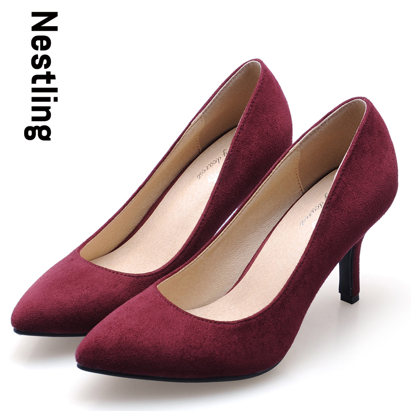 Size 34-41 New 2017 Spring Fashion High Quality Flock Party Shoes Sexy Pointed Toe Women Pumps OL High Heels Shoes Woman new 2017 spring summer women shoes pointed toe high quality brand fashion womens flats ladies plus size 41 sweet flock t179