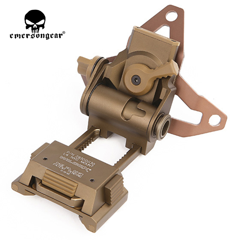 Emersongear Helmet NVG Mount with Shroud L4G30 Goggles Scope Night Vision Tactical Military Airsoft Combat Gear Pouches militech coyote brown cb color aluminum shroud marsoc warcom night vision 3 holes goggle mount base nvg ops core skeleton shroud