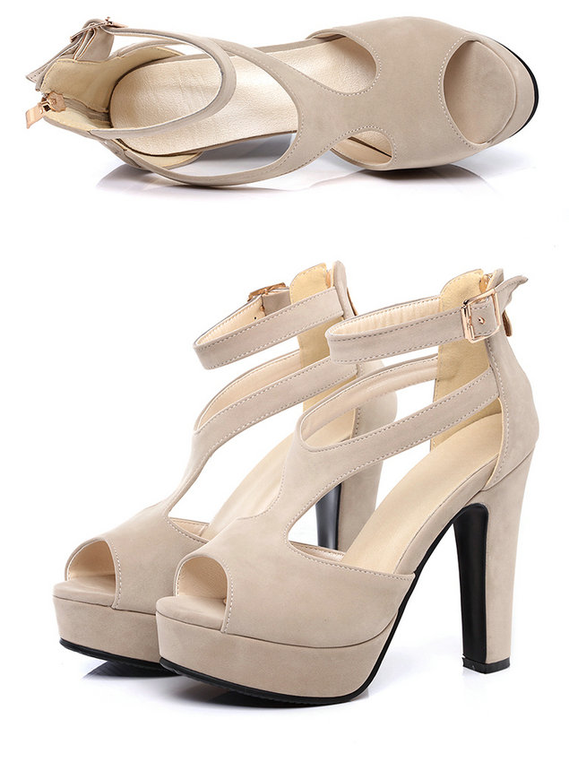 QUTAA 2017 Women Pumps Summer Black Ladies Shoe Square High Heel Peep Toe PU Leather Zipper Woman Wedding Shoes Size 34-43 10