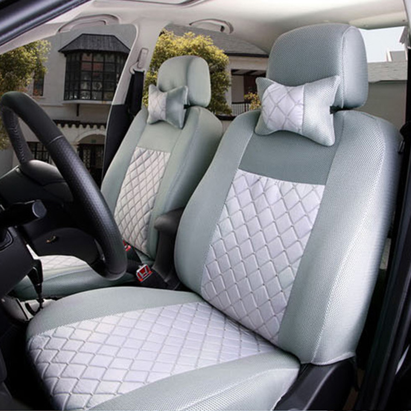 (Front + Rear) Universal car seat covers For Ford mondeo Focus Fiesta Edge Explorer Taurus S-MAX auto accessories styling brand new styling luxury ice silk car seat covers 1pc front complete set for universal seat car four season auto accessories