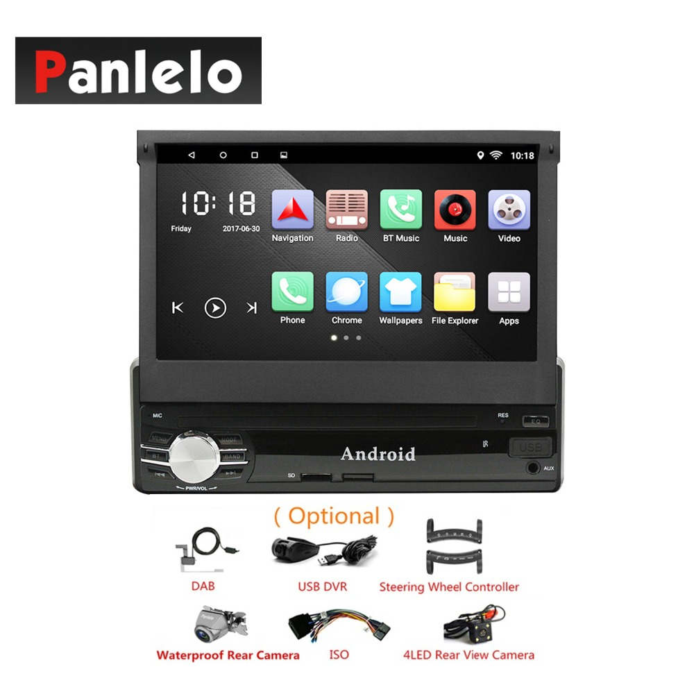 Car Audio Android 1 Din GPS Navigation Telescopic 7 Inch Touch Screen Mirror Link Bluetooth WIFI Quad Core 6.0 Car Stereo +ISO