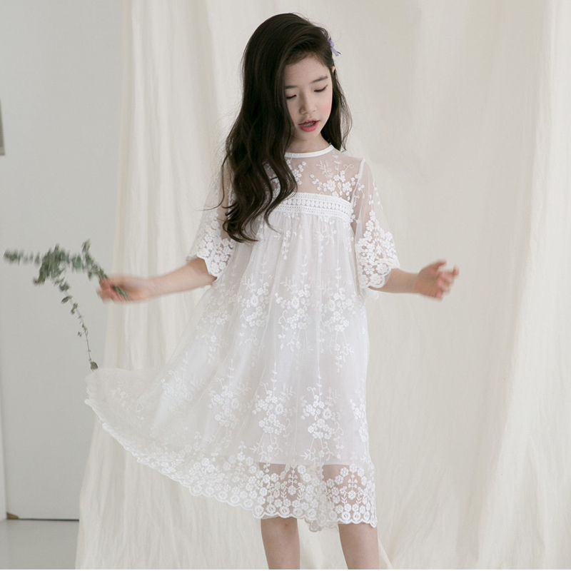 Little Girls Lace Dress Princess Party Birthday Wedding Kids Dress Teenage Clothing size 4 5 6 7 8 9 10 11 12 14 15 years girl dress autumn white long sleeved clothes korean cotton size 4 5 6 7 8 9 10 11 12 13 14 years kids blue lace princess dress