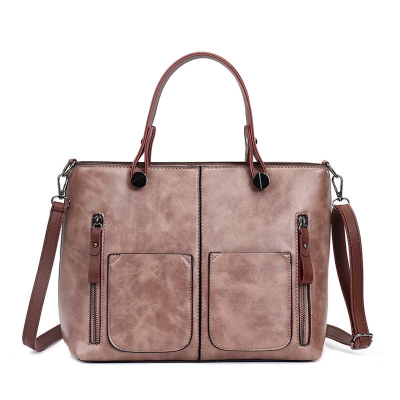 Qualità gray Delle Alta Modo brown Sacchetti Messaggero Cuoio Top A pink Progettista Di handle Black Spalla Donne Borse Del Vuntage Tote UPR7vdw