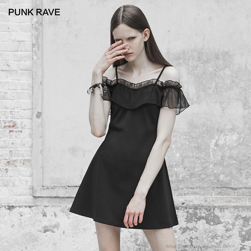 PUNK RAVE New Gothic Women s Black Off shoulder Spaghetti Strap Chiffon Lotus Leaf Ruffles Mini