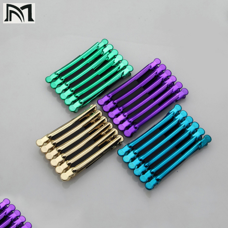 12Pcs/Box Color Stainless Steel Hairpin Crane Mouth Clip Hair Styling Zoning Metal Clip For Long Duck Mouth Beauty Hair Tools C5