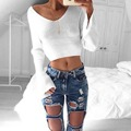 Womens Sweater Loose Sexy Jumper Knitwear Crop Tops V-Neck Long Sleeve Pullover