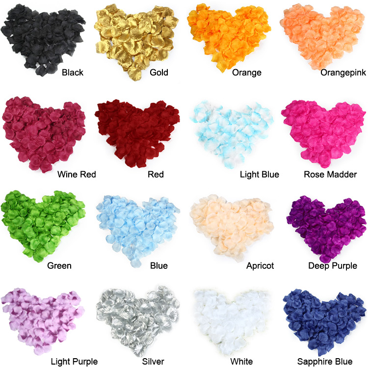 1000 Pcs Silk Rose Flower Petals Leaves for Wedding Decorations Party Festival Table Confetti Decor Artificial Flowers 16 Colors