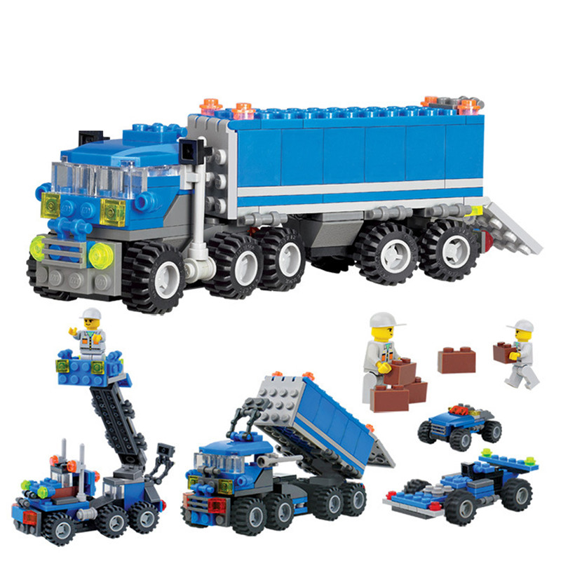 163 Pieces Child Educational Toys Dumper Truck DIY Toys Building Block Sets Intelligent Development Toys Children Birthday Gift jie star 29012 swat truck 302pcs diy educational plastic children toys building block sets