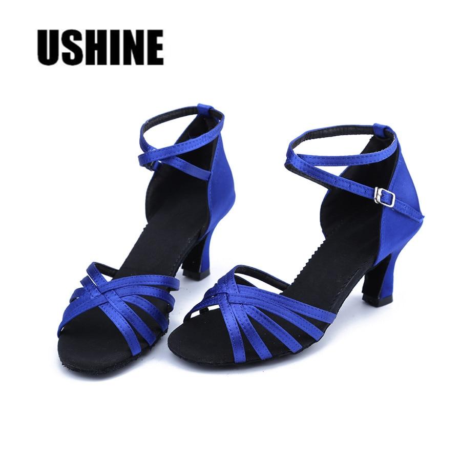 Heeled Blue Satin Latin Dance Shoes Woman Ballroom Dancing Shoes Zapatos De Baile Latino Mujer Free Shipping