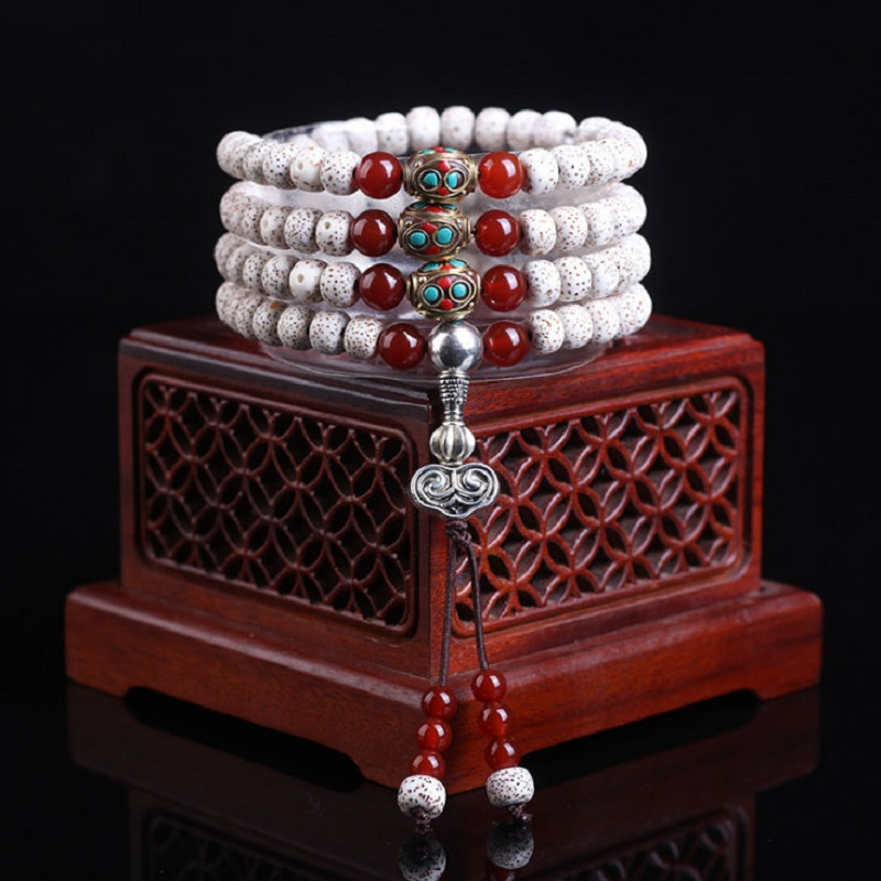 Exquisite Hainan Dry Grinding Natural White Star Moon Bodhi 108 Beads Pure Red Onyx Beads Beaded Bracelet Apple Orchard Buckets цена