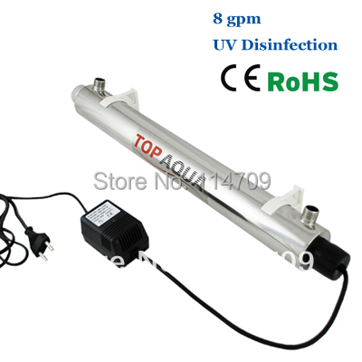 Coronflow SS304 8 GPM UV Sterilizer Disinfection System CE, RoHS for Water Purification SEV-5885 coronwater 72 gpm uv disinfection sbv 5925 6p