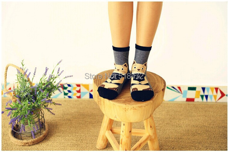 Hot !! Originality Big 3D cat fashion cotton socks women lovely harajuku cute socks thick warm winter/spring high top socks