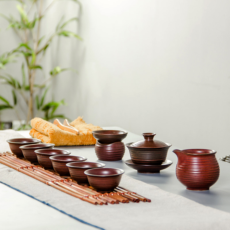 China Tea Set Porcelain Portable Teacup Kung Fu Teasets cup of Tea Ceremony 1 Teapot 6 Cups 1 Gaiwan 1 Tea Leaks B001