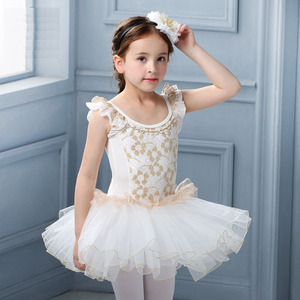 Image 2 - White Swan Lake Ballet Costume Short Sleeve Ballerina Clothes Children Kids Tutu Ballet Dress Lace Ballet Dancewear For Girls